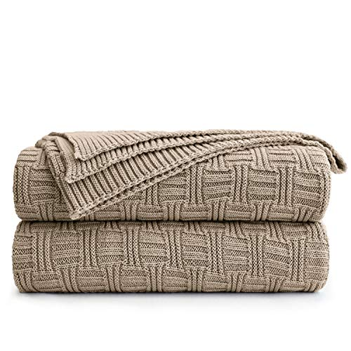 Cotton Khaki Cable Knit Throw Blanket for Couch Sofa Bed with Bonus Laundering Bag - Large 60 x 80 Thick, 3.4 LB, Machine Washable, Comfortable Home Décor