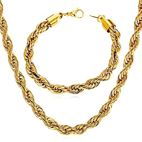 U7 Rope Chain 6mm Wide 18K Gold Plated Twisted Chain Necklace Bracelet Set Men Fashion Jewelry - 18k Rope Necklace