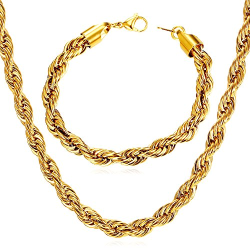 U7 Rope Chain 6mm Wide 18K Gold Plated Twisted Chain Necklace Bracelet Set Men Fashion Jewelry (18k Twisted Necklace)