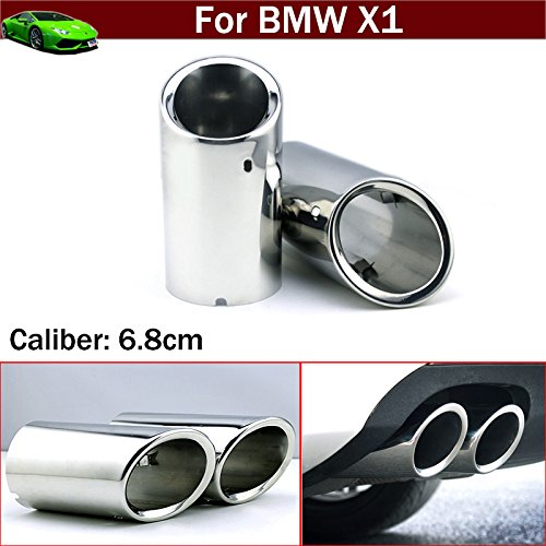 - 2pcs Silver Color Stainless Steel Exhaust Muffler Rear Tail Pipe Tip Tailpipe Extension Pipes Custom Fit for BMW X1 2008 2009 2010 2011 2012 2013 2014 2015 2016 2017 2018 2019 2020