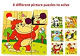 Vibgyor Vibes™ Early Age 6 in 1 Wood Block Puzzles for small Kids. (Wild Animals/Zoo Animals theme)