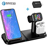 Wireless Charger, Aphqua Qi Wireless Charger Stand Compatible iPhone X/XR/XS/XS Max/8/8 Plus, Samsung Galaxy S10/S9/S9+/S8/S8+, 3 in 1 Wireless Charging Stand Dock for iWatch 4/3/2/1 & AirPods