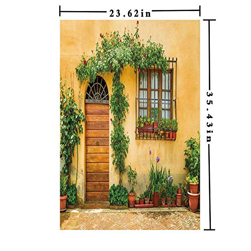 Removable Static Decorative Privacy Window Films 3D printed Decorative Kitchen/home/office/, Porch with Different Flowers Pots Fresh Green Plants City Life in Tuscany Decorative Glass Film (23.62in.
