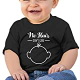 No Hair Don't Care 6 - 24 Months Baby T-shirts Round Neck Shirt Black