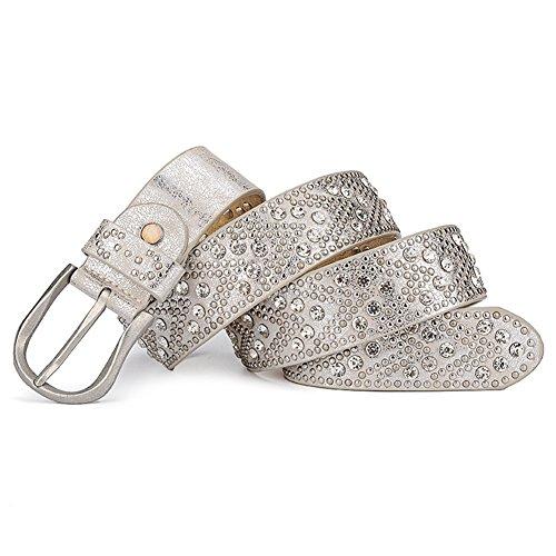 "Silver ladies belt White 44""Wide Belt Women's belt Rhinestone 1 Rivet PU FznEp5xaq"
