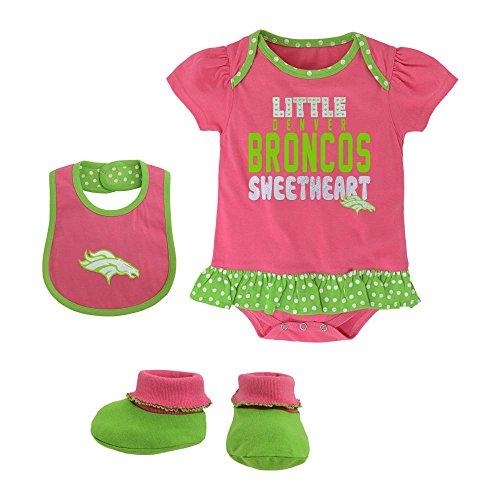 Girl Pink Onesie Bib Booties (Denver Broncos Baby Little Sweetheart Creeper Bib and Booties)