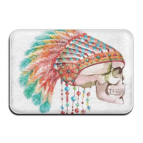 Skull Tribal Indian,Entrance Mat Indoor Outdoor,Entry Garage Patio Shoe Rugs Front,Door Bathroom Mats Rubber,Non Slip (23.6