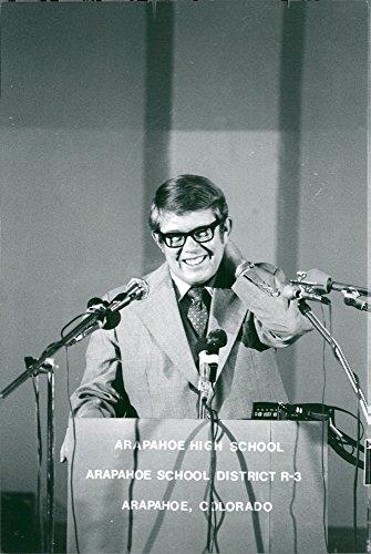 """Vintage photo of Billy Carter speaks at """"Arapahoe High School"""" school closing"""