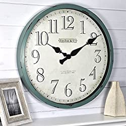 FirsTime & Co. 10065 FirsTime Bellamy Wall Clock, 24, Aged Teal