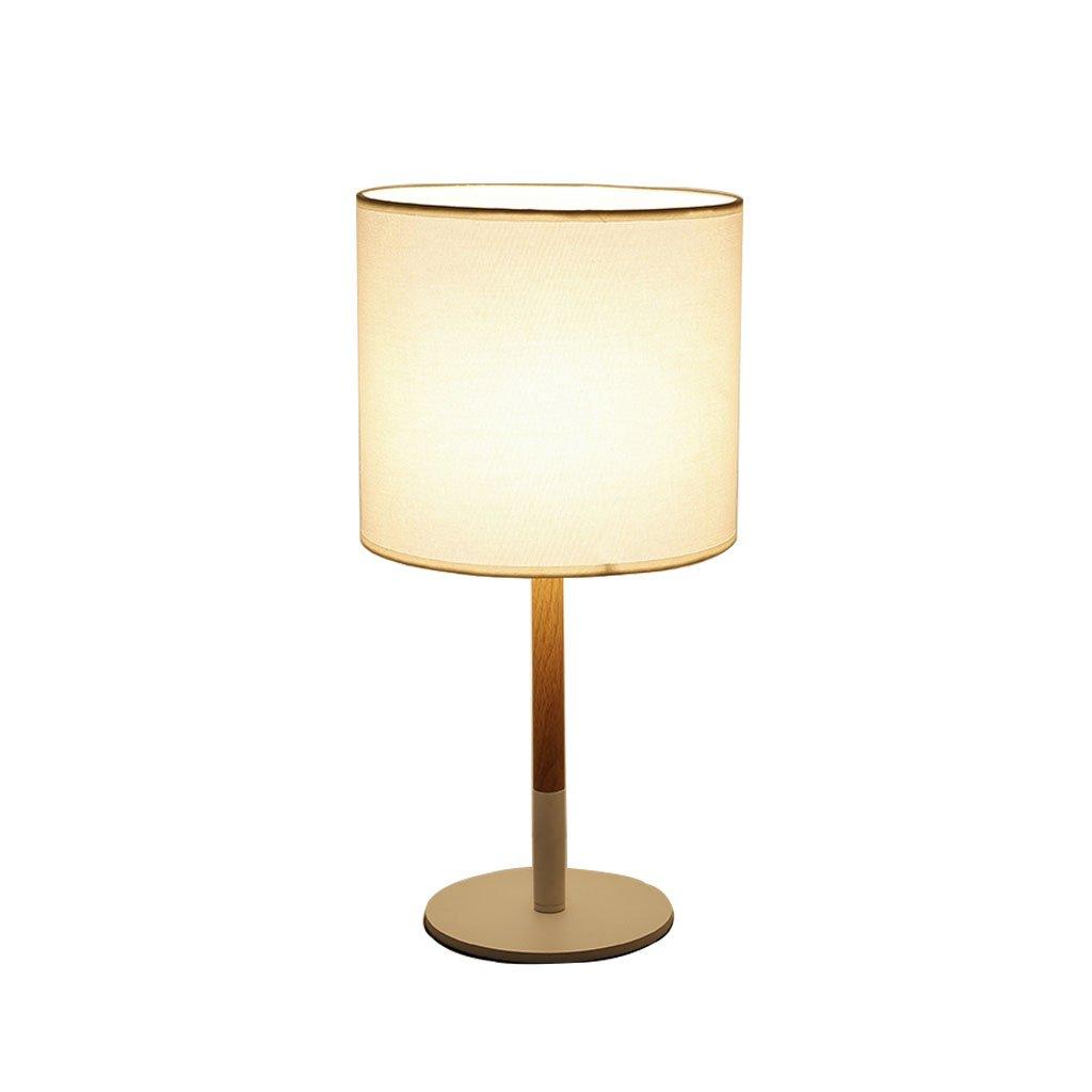 Unbekannt Tischlampe im Europäischen Stil - Moderne Tischlampe aus Holz Nachttischlampe mit kreativem Schlafzimmer Tastschalter -44cm