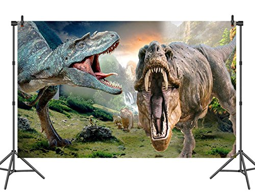 Dinosaur Scene - Sensfun 3D Giant Dinosaur Scene Photography Backdrop Vinyl Children Birthday Photo Background Studio Props 7ftx5ft