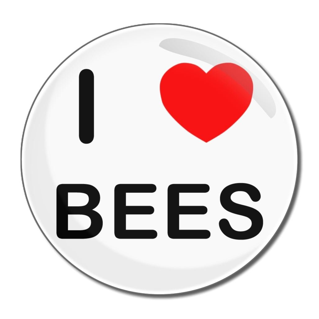 I Love Bees - 55mm Round Compact Mirror BadgeBeast.co.uk 55mir-bees