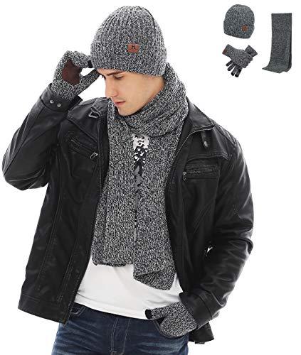 (Maylisacc Winter Warm Knit Hat Long Scarf Non-Slip Touchscreen Gloves Set for Men Grey)