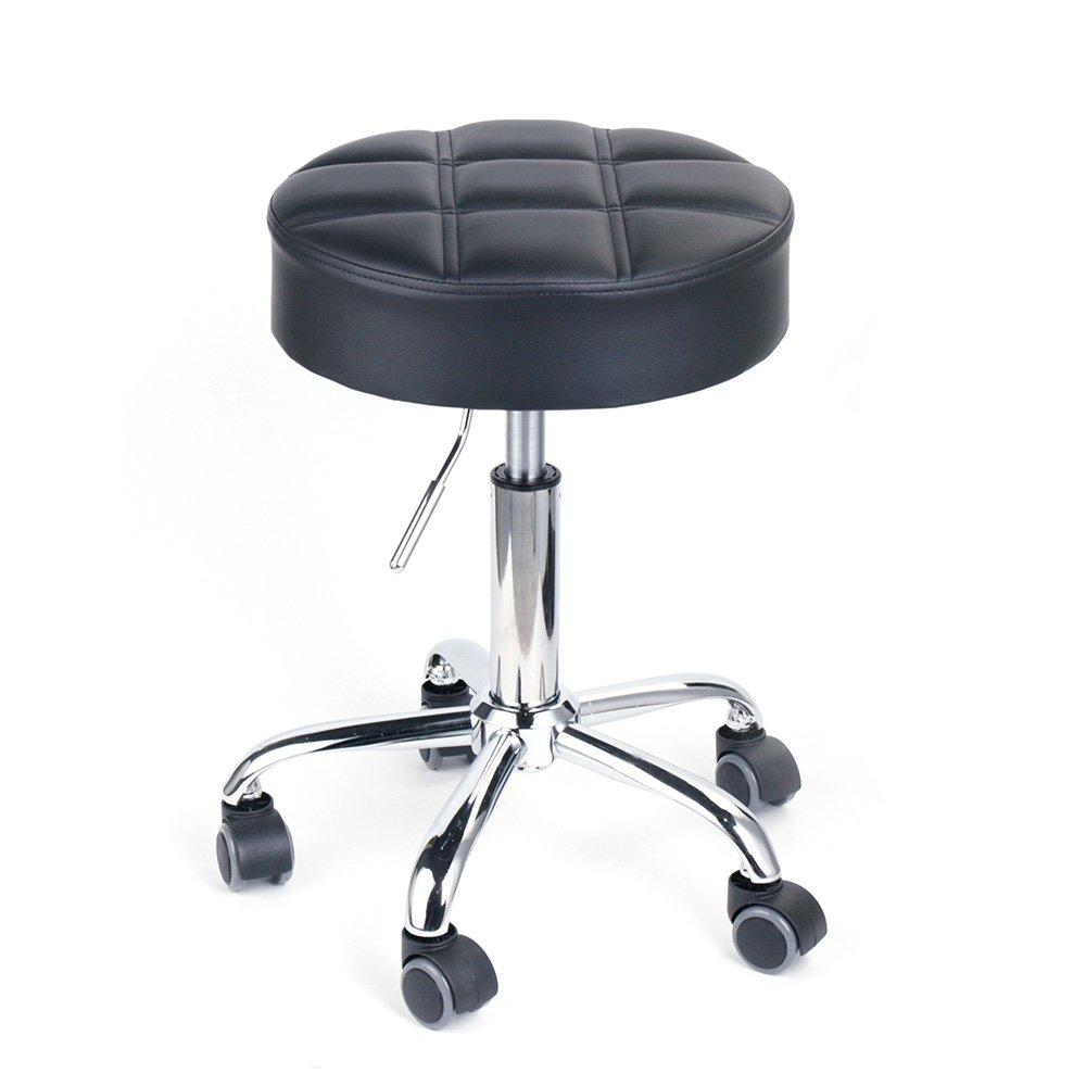 Leopard Round Rolling Stools, Adjustable Work Medical Stool with Wheels - Black (Black)