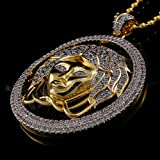 CS-DB 18K Yellow Gold Plated Iced Out Mini Medusa Head Lab Diamond Pendant Necklace