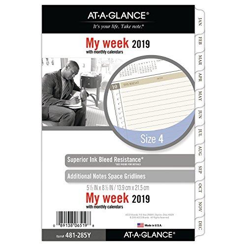 AT-A-GLANCE 2019 Weekly & Monthly Planner Refill, Day Runner, 5-1/2