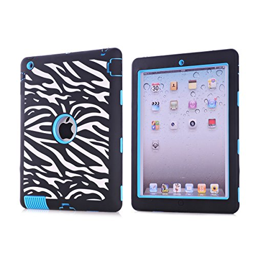 iPad Case,iPad 2/3/4 Case, BENTOBEN Silicone Plastic 3 in 1 Hybrid Shockproof & Drop Resistance Anti-slip cover for iPad Case iPad 2/3/4 Case(Zebra+Blue)