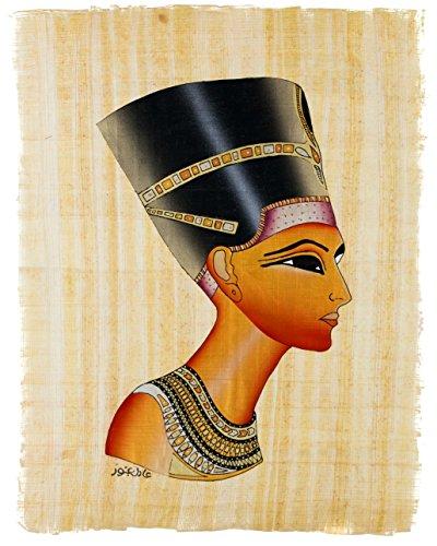 Leolana Nefertiti Egyptian Papyrus Painting 9x13 - Black & Gold (Egyptian Papyrus Painting Handmade Ancient)