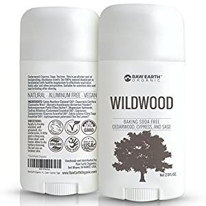Raw Earth Organic All Natural Vegan Deodorant - Baking Soda & Aluminum Free - Cedarwood / Cypress / Sage (2.5oz)