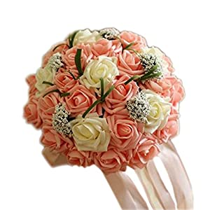 Kylin Express Beautiful Artificial Flowers Bouquet for Bridal Wedding Party, Orange Pink 67