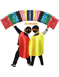 Superhero Capes and Masks for Kids Birthday Party - DIY Dress up Costumes - Bulk Pack of 28 Pcs (14 Sets)