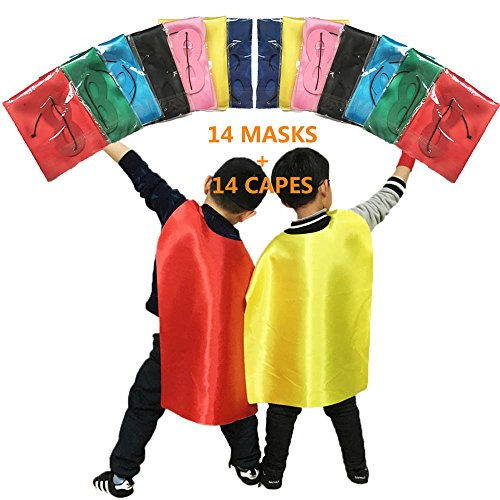 ADJOY Superhero Capes and Masks for Kids Birthday