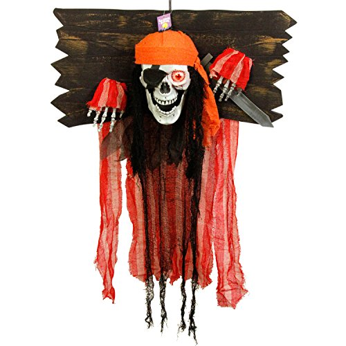TCP Global Halloween Haunters Animated Hanging Speaking Skeleton Pirate in Torture Stocks Shackles Prop Decoration - Moving Jaw, Flashing Eye - Battery Operated