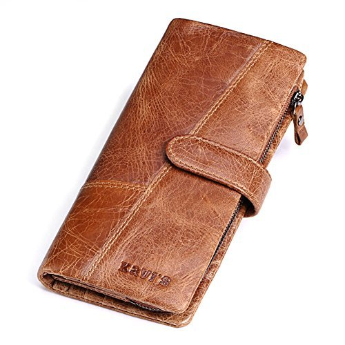CZGBT Men's Genuine Cow Leather Long Wallet Clutch Bag Handbag Card Case (Brown)