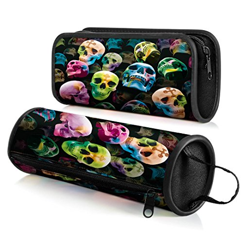 Crystal Skull Black Case (CEIEC3D 3D Skull Pencil Case Cosmetic Bag Students Stationery Pouch Zipper Bag for Back to School Set of 2)