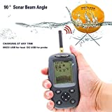 Wireless Fish Finder Sonar Sensor Water Temperature Indicator Fish Depth Indicator, Fish Size LCD Display 80-100m receiving distance