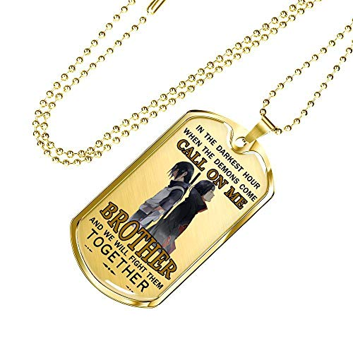 (Military Necklace to My Brother Dog Tag Chain Fan Naruto Anime Itachi & Sasuke Necklace Pendant - America Veteran Jewelry - Happy Motivational Birthday Gifts for Men/Boys)