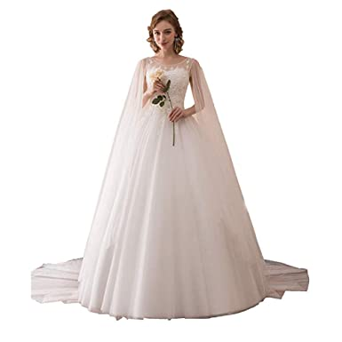 482ed1b9dfb72 Dreagel Women's Elegant Lace Wedding Dresses A-line Bridal Gowns with Cape  at Amazon Women's Clothing store: