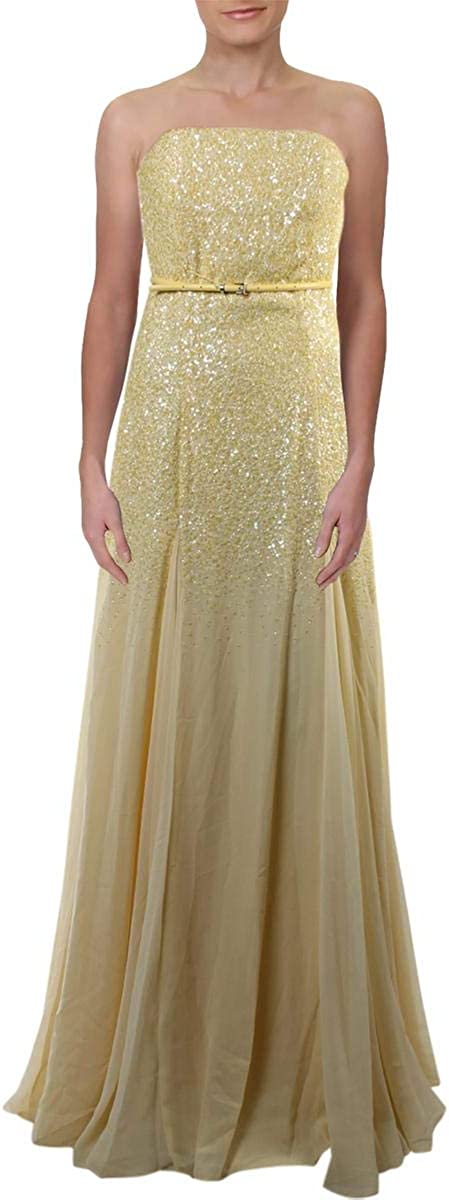 Halston Heritage Women's Strapless 5 ☆ very popular Georgette Evening Max 71% OFF Dr Sequined