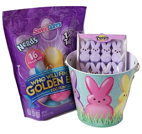 Princess Bucket Set (Ruz Peeps Marshmallow Bunnies and SweeTARTS Laffy Taffy, Nerds, Egg Hunt with a Golden Egg Egg Hunt Tin Bucket Easter Set!)
