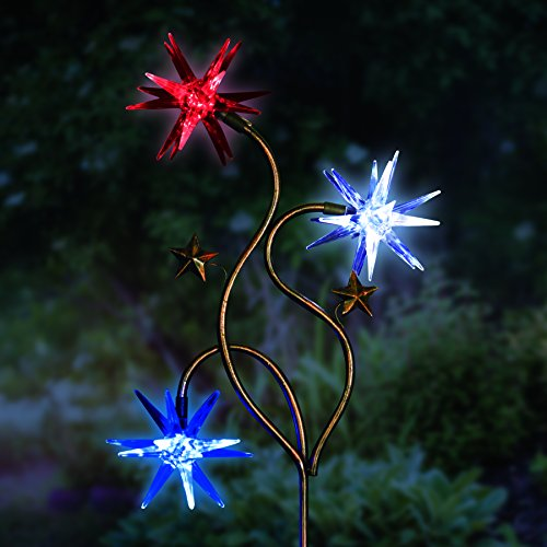 Exhart Triple Color Starburst Garden Stake – Patriotic Starburst Solar Stake Lights in Blue, Red & White Accent Colors – Glow Stars Outdoor Decor with Solar Powered Lights, 11 L x 3″ W x 33″ H