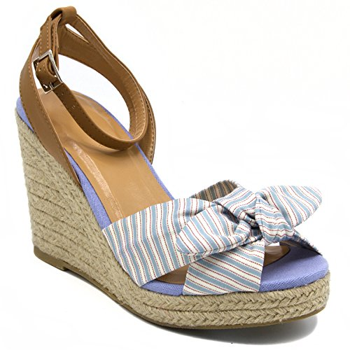 Stripe Espadrille Sandal (Nautica Women's Curia Espadrille Wedge Sandals with Stripe Bow-Blue-6.5)