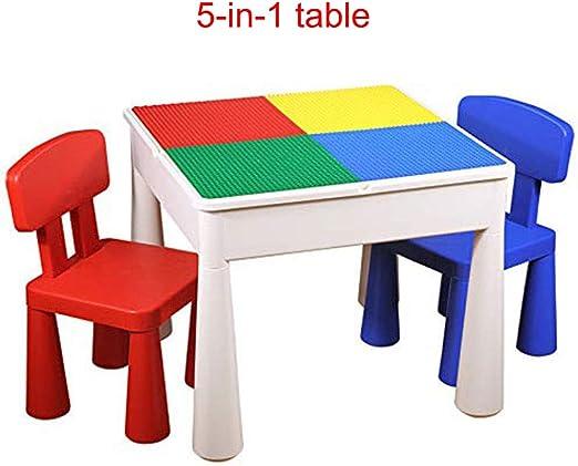ZH Kids Juego de Mesa y Silla de Juegos para niños, 5 en 1, Mesa Multiusos de construcción, Escritura, Agua, Arena y Almacenamiento, con 2 sillas: Amazon.es: Juguetes y juegos