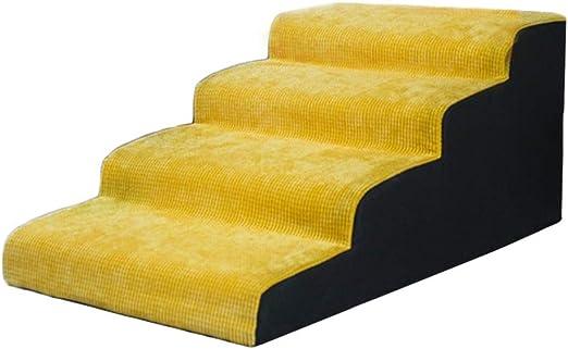 HH- Escaleras de Mascotas Rampa Lavable De La Escalera Lavable del Perrito De La Escalera Suave del Perro De 4 Pasos - Amarillo (Size : Height 45cm): Amazon.es: Productos para mascotas