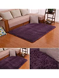 HUAHOO Super Soft Indoor Modern Shag Area Silky Rugs Dining Room Living Bedroom Rug Baby
