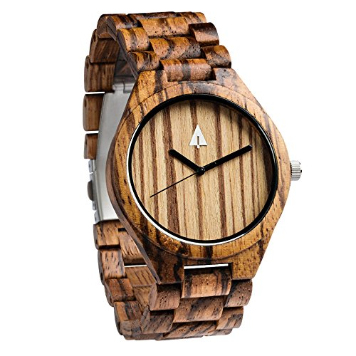 Treehut Men's Zebrawood Wooden Watch with Zebrawood Wood Strap Quartz Analog - Watches Hut
