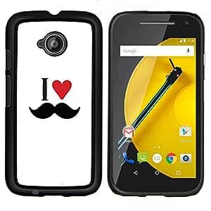 Caucho caso de Shell duro de la cubierta de accesorios de protección BY RAYDREAMMM - Motorola Moto E2 E2nd Gen - Capa Amo el corazón del bigote