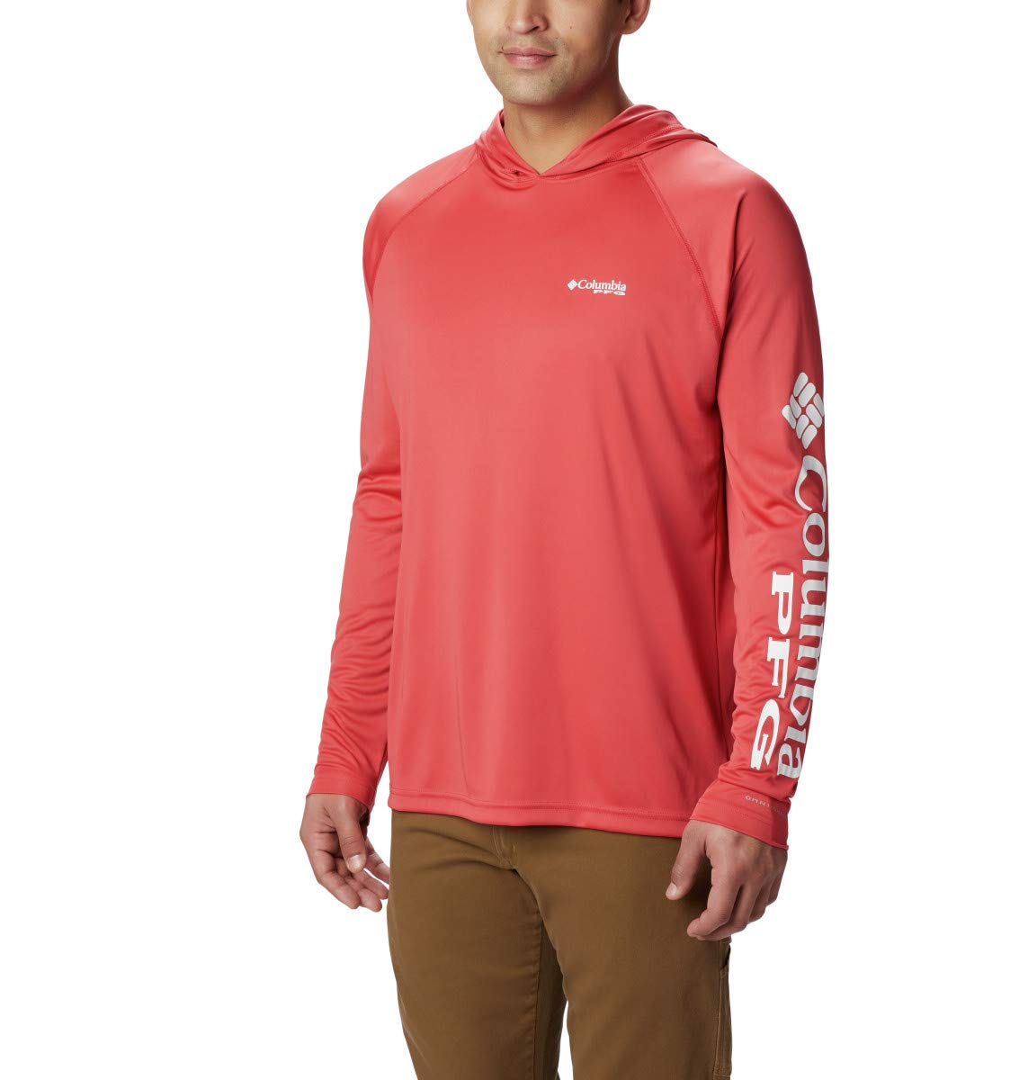 Columbia Men's Terminal Tackle Hoodie, Sunset Red, White Logo, X-Large by Columbia