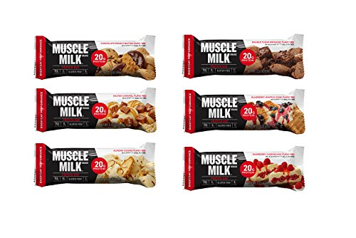 Muscle Milk Red , Chocolate Peanut Butter ,Salted Caramel , Almond Cookie , Double Fudge Brownie, Blueberry Cone, Raspberry Cheesecake , 2.18 oz , 1 of each,( Pack of 6 ) - Chocolate Salted Butter