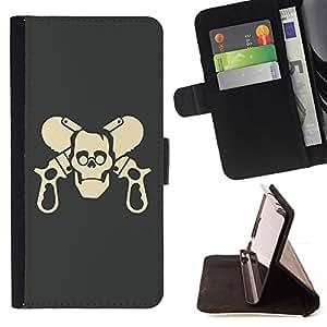 - cool funny skull guns - - Prima caja de la PU billetera de cuero con ranuras para tarjetas, efectivo desmontable correa para l Funny HouseFOR Samsung Galaxy S5 Mini, SM-G800
