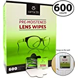 Pre-Moistened Lens Cleaning Wipes - 600 Cloths - Safely Cleans Glasses, Sunglasses, Camera Lenses, and Electronic Quickly and Efficiently - Travel - by Optix 55