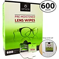 Pre-Moistened Lens Cleaning Wipes - 600 Cloths - Safely...