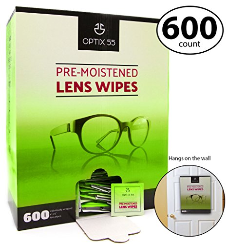 Optix 55 Pre-Moistened Lens Cleaning Wipes - 600 Cloths - Safely Cleans Glasses, Sunglasses, Camera Lenses, and Electronic Quickly and Efficiently - Travel by Optix 55