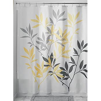 Amazon.com: InterDesign Leaves Shower Curtain, Gray and Yellow, 72 ...