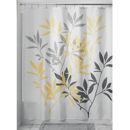 yellow and white shower curtain - 3