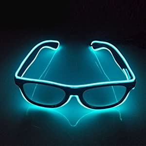 OxoxO EL Glasses El Wire Fashion Neon LED Light Up Sound Activated Eye Glasses Party DJ Bright SunGlasses(Sky Blue)